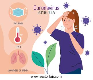 coronavirus 2019 ncov infographic and woman with sore throat and icons
