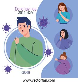 coronavirus 2019 ncov infographic and man with coughing and people