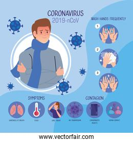 man with fever and infographic of coronavirus 2019 ncov and icons