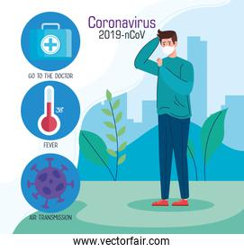 man with face mask and infographic of coronavirus 2019 ncov and icons