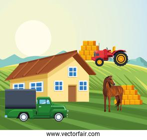 farming house truck tractor horse bales of hay