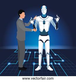 artificial intelligence technology man programing cyborg