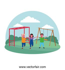 kids zone, girl and boys in the playground with swing playground