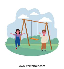 kids zone, smiling happy boy and girl with swing playground