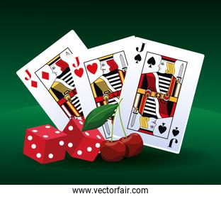 poker cards dices and cherry betting game gambling casino