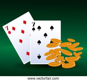 falling coins money and cards betting game gambling casino