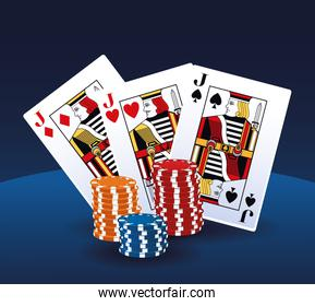 poker cards and chips stacked betting game gambling casino