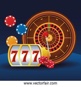 slot machine roulette chips and dices betting game gambling casino