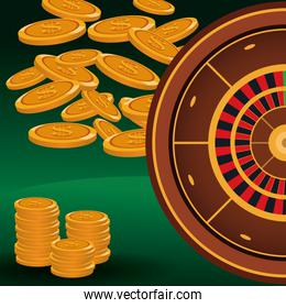 coins stacked money roulette betting game gambling casino