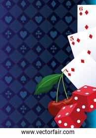cards dices and cherry betting game gambling casino