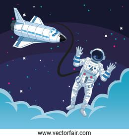 astronaut outside spacecraft clouds space exploration