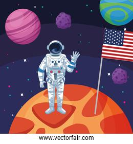 astronaut with american flag in planet space exploration