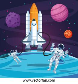 astronauts out of the rocket planets moon space exploration