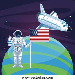 astronaut with american flag planet rocketship space exploration