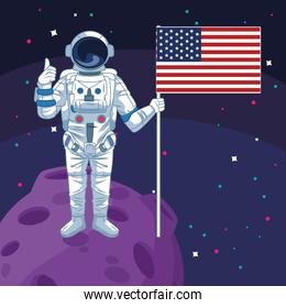 astronaut holding american flag in moon space exploration