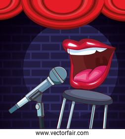 mouth microphone stool stage stand up comedy show