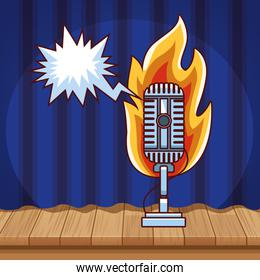 microphone voice fire curtain stand up comedy show