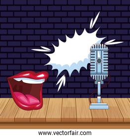 mouth talking microphone stage stand up comedy show