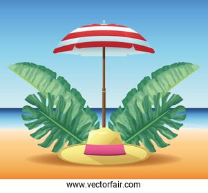 summer time in beach vacations umbrella hat tropical leaves sand sea