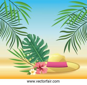 summer time in beach vacations hat flowers tropical leaves palm