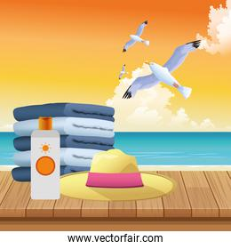 summer time in beach vacations seagull hat towels