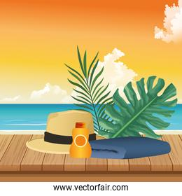summer time in beach vacations hat towel sunblock foliage palms
