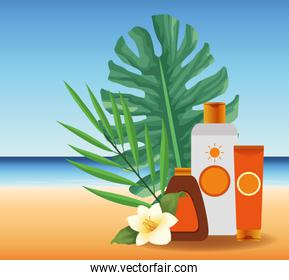 summer time in beach vacations sun bronzer and sunblock cream flower leaves sand