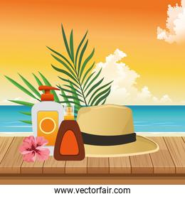 summer time in beach vacations sun bronzer and sunblock spray hat flower leaves