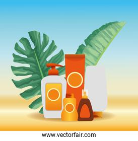 summer time in beach vacations sun bronzer and sunblock cream skincare tropic foliage