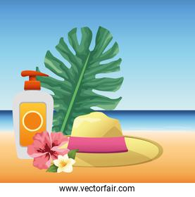 summer time in beach vacations sunblock spray hat and flowers palms leaves