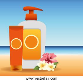 summer time in beach vacations sun bronzer and sunblock spray flowers sand sea