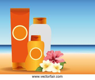 summer time in beach vacations sun bronzer and sunblock flowers ocean
