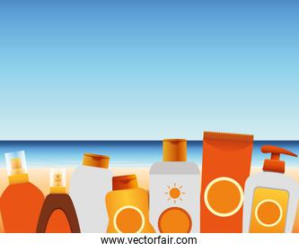 summer time in beach vacations bottles tube cream lotion sunblock sea sand