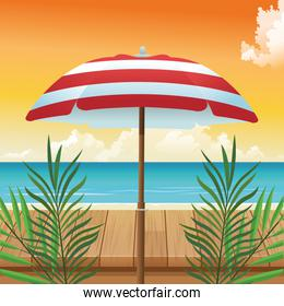 summer time in beach vacations umbrella leaves wooden table sea sand