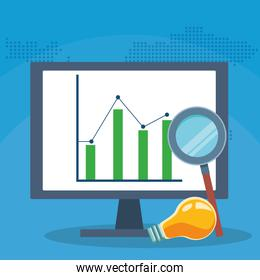 success start up business computer chart report idea magnifier