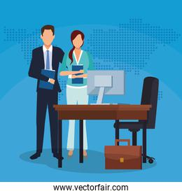 businessman businesswoman office desk computer suitcase success start up business