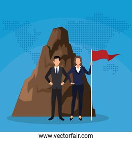 businessman and businesswoman with flag mountain success start up business