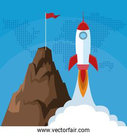 launching rocket mountain with flag success start up business