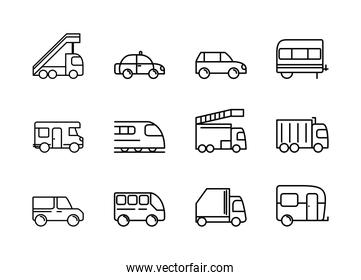 transport vehicle linear design set icons