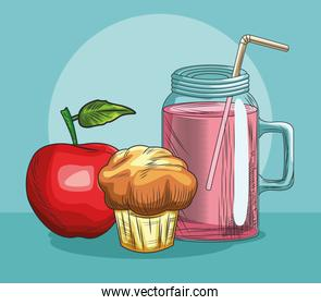 fresh fruit apple muffin and juice food healthy