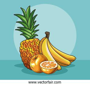 fresh fruit pineapple banana and orange food healthy