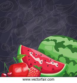 fresh fruit watermelon apple strawberry cheery food healthy