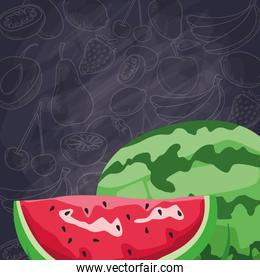 fresh fruit slice and whole watermelon food healthy