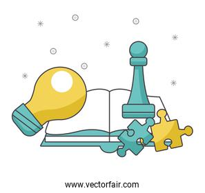 book with chess piece and jigsaw pieces
