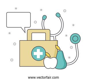 first aid kit with stethoscope and fruits