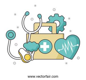 first aid kit with stethoscope and cardio heart, colorful design