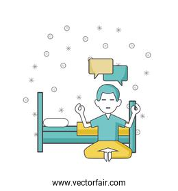 meditating man next to bed, colorful design