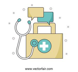first aid kit with speech bubbles and stethoscope, colorful design