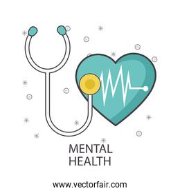 Mental health design with stethoscope and cardio heart