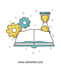 book with gears and hourglass, colorful design